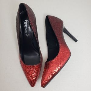 Fioni Night Closed Toe Red Sequin Party Heels